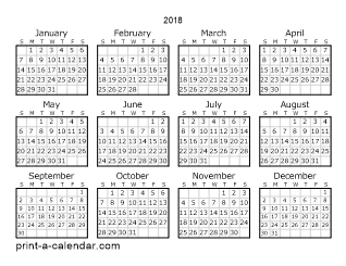 2018 calendar downloadable