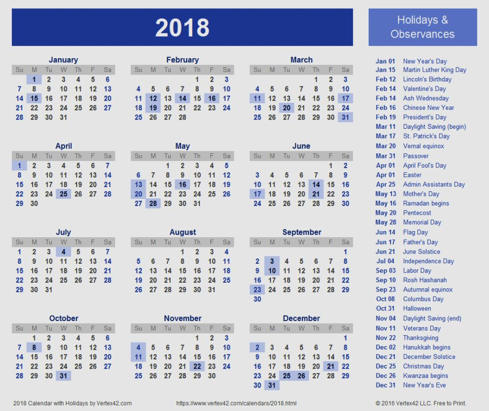2018 Calendar Ontario – 2019 New Year Images