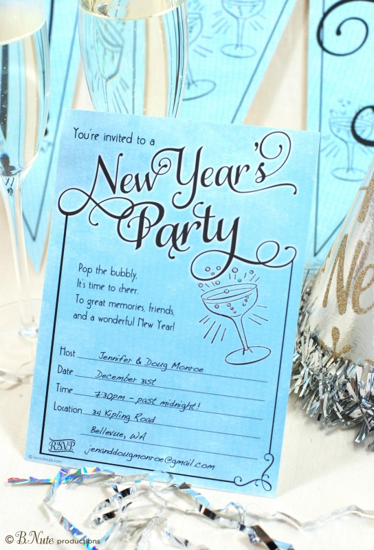 31st party new year invitation