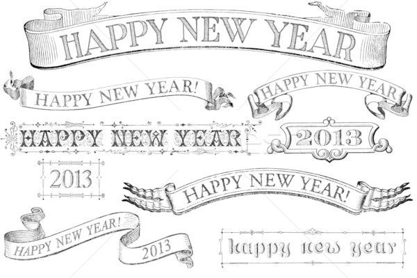 black and white new year banner
