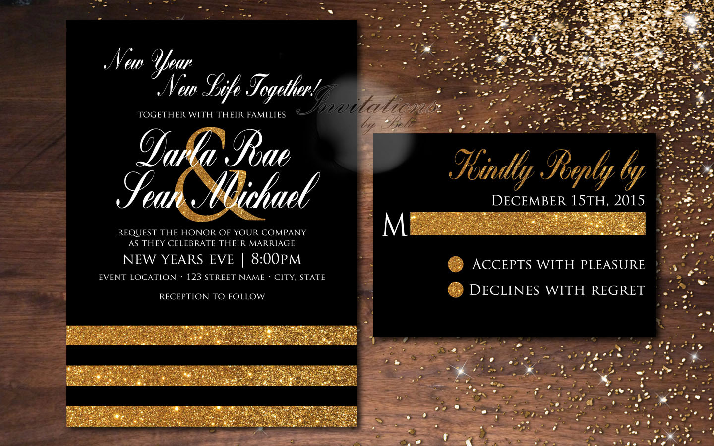 black and white new year invitation