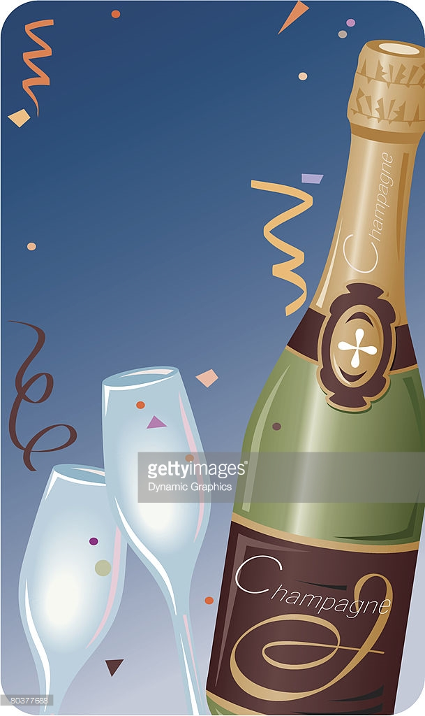 champagne bottle new year border