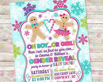 gender reveal party new year invitation