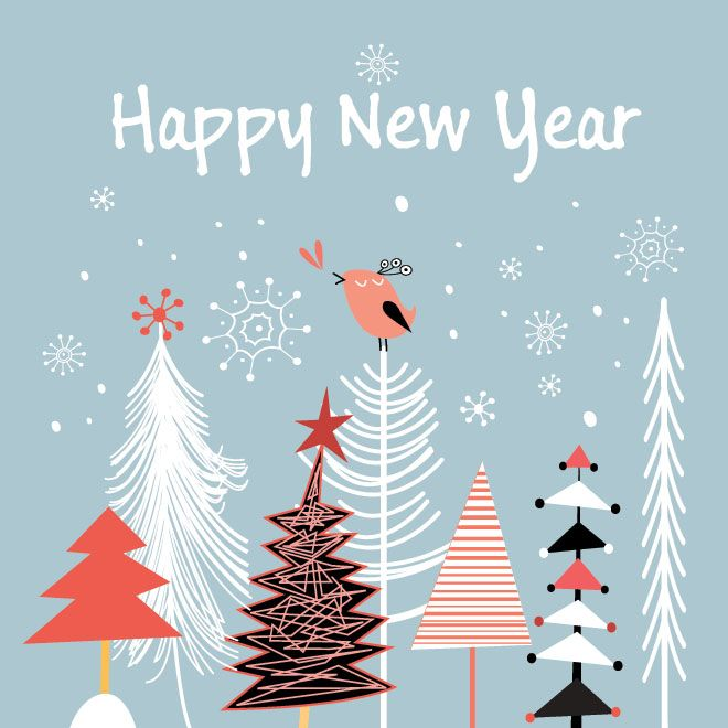 line new year cards