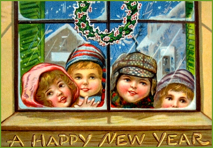 old time new year cards