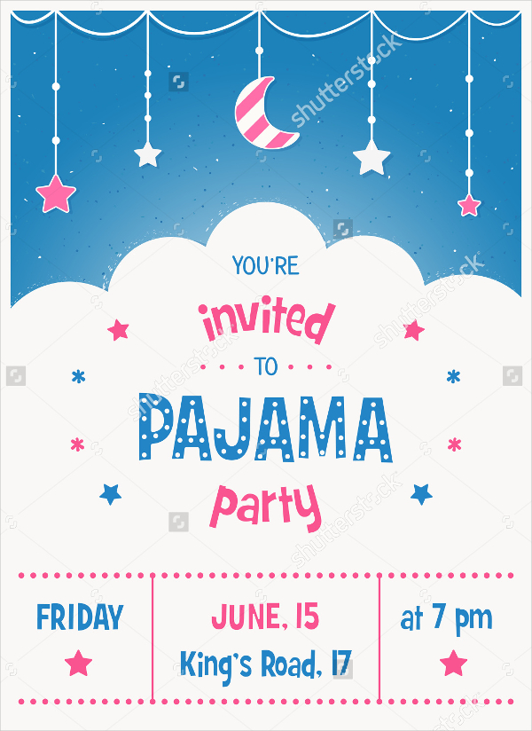 pajama party new year invitation