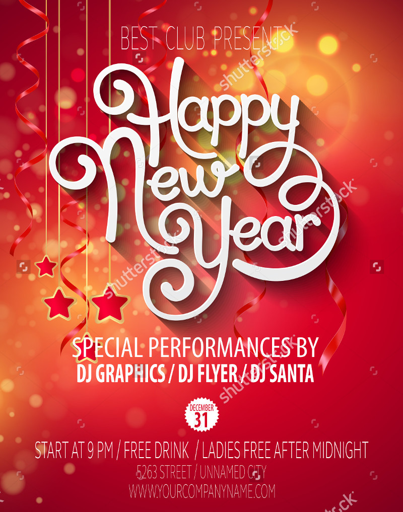 simple party new year poster