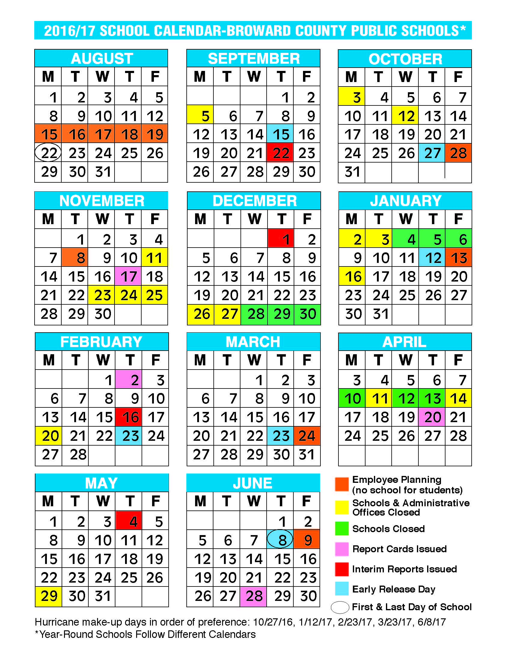 2018 calendar broward school