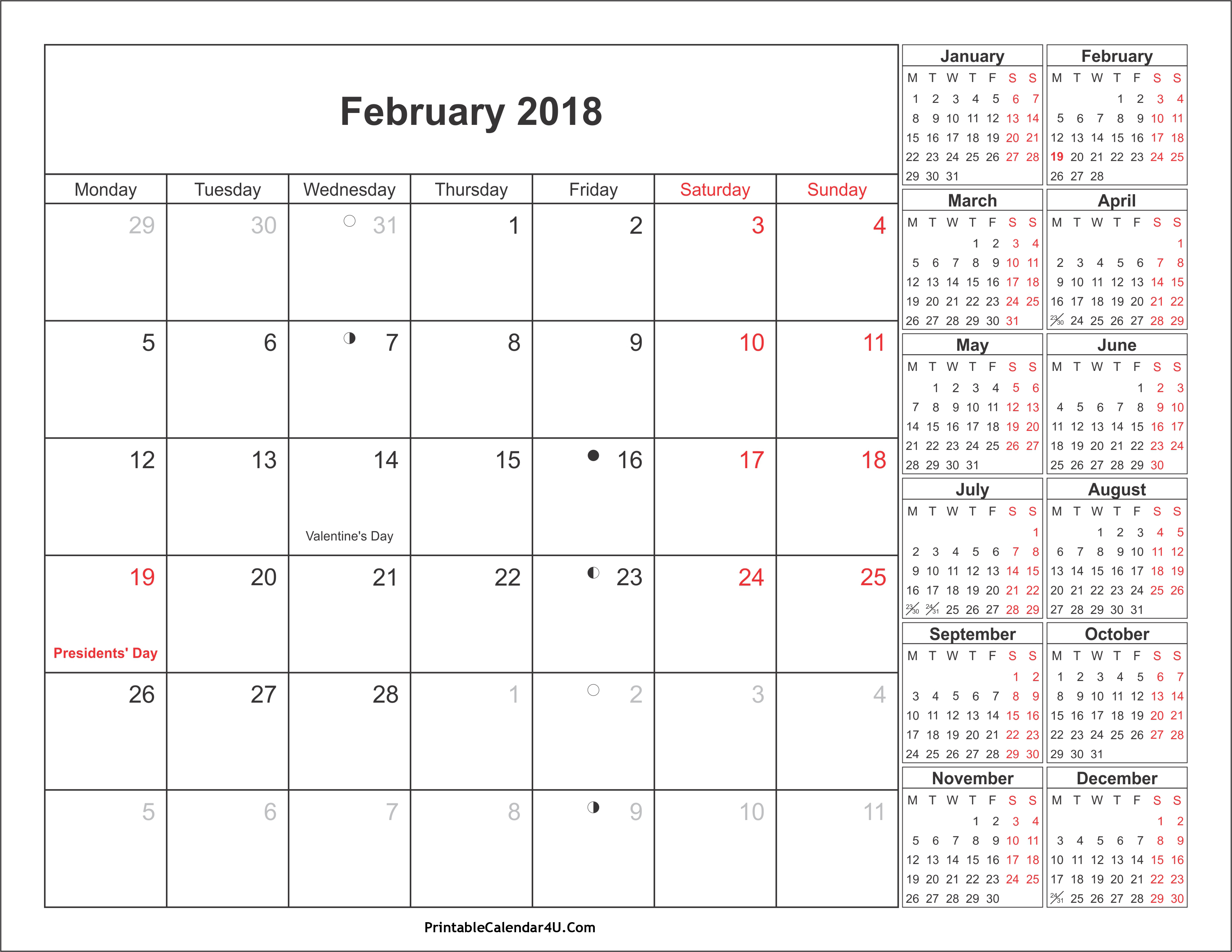 2018 calendar holiday pdf