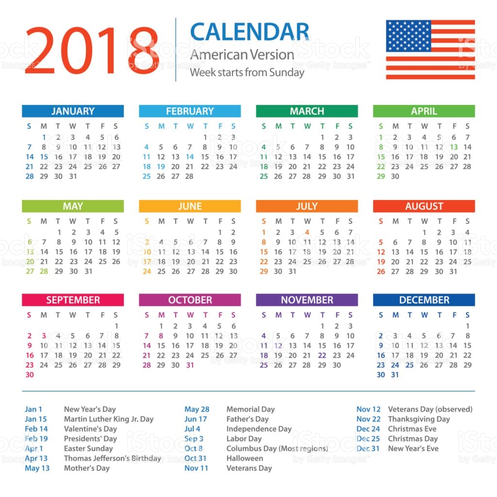 2018 calendar holiday usa