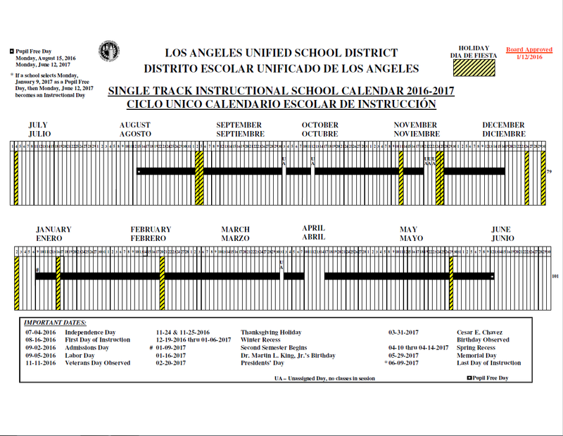 Lausd Calendar 2016 2020 2018 – Page 45 – 2019 New Year Images