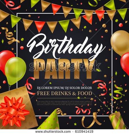 birthday party new year poster