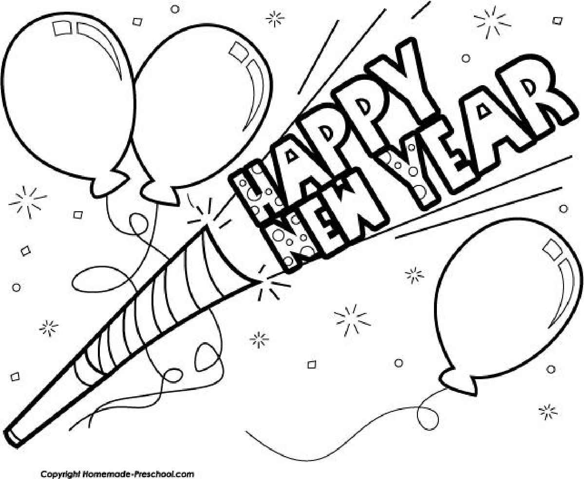 black and white new year clip art