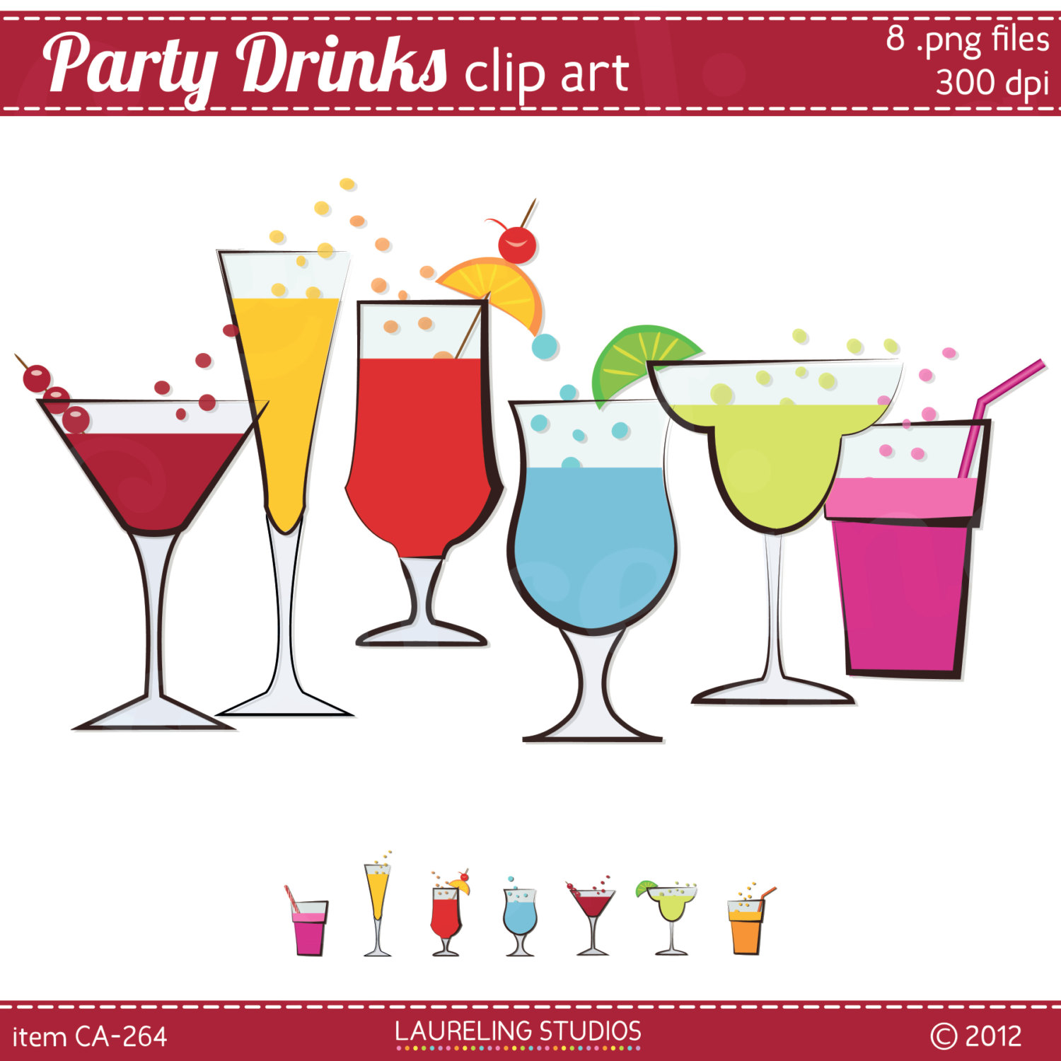 cocktail party new year border