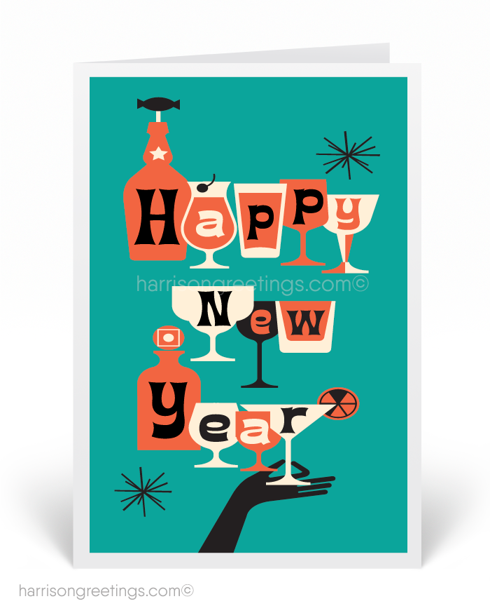 mid century new year cards