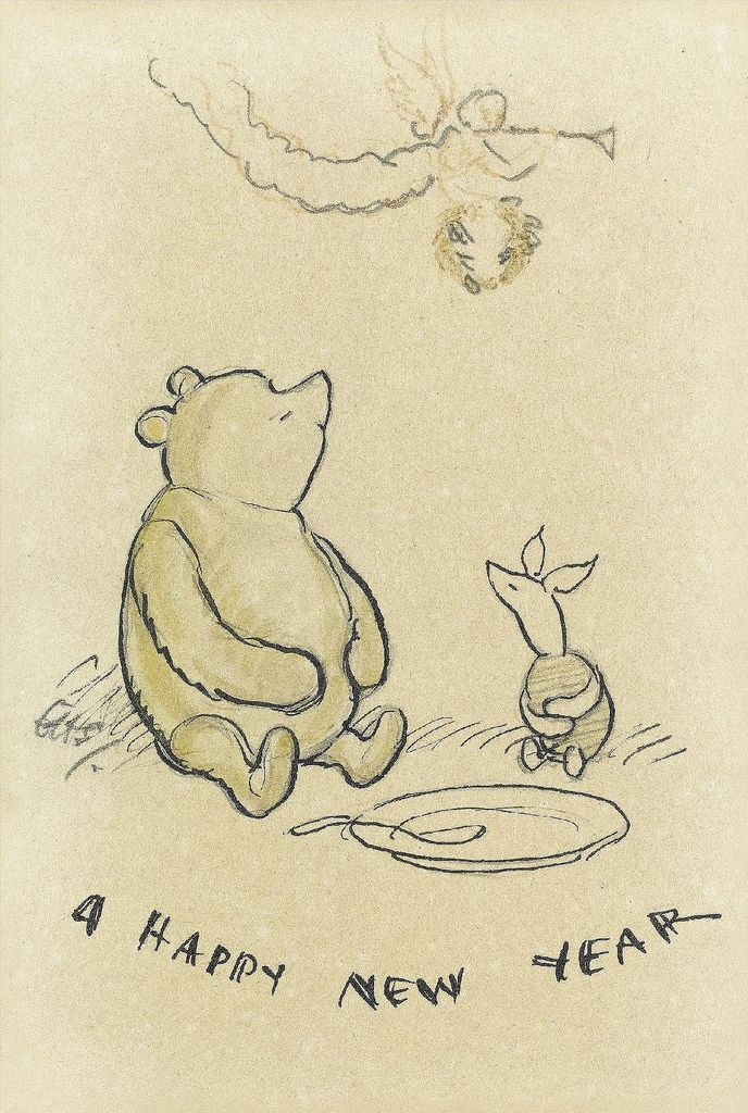 winnie the pooh new year drawings