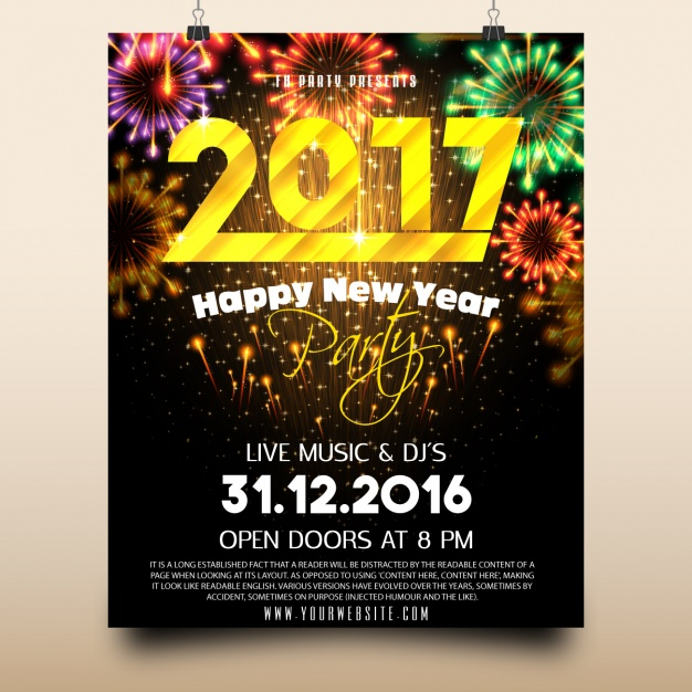 year end party new year poster