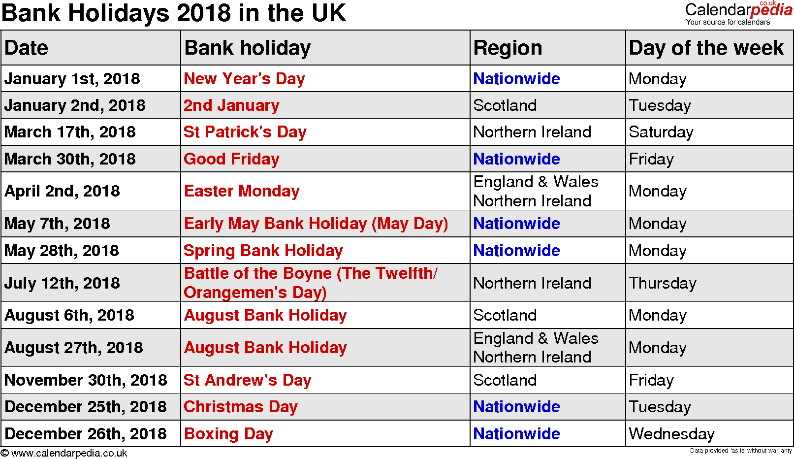 2018 calendar bank holiday