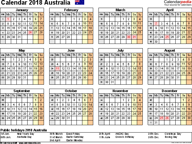 2018 calendar holiday australia