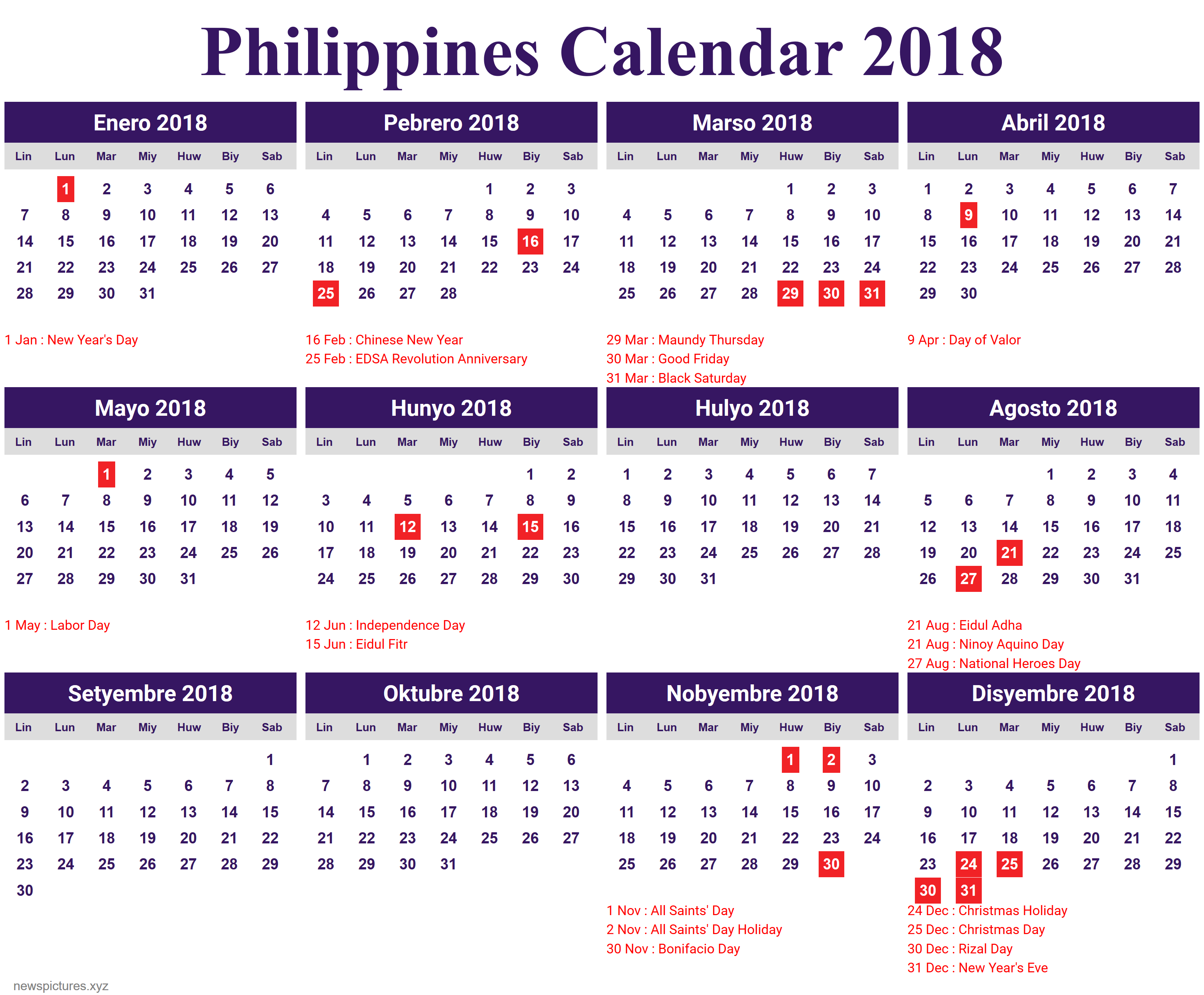 2018 calendar holiday philippines