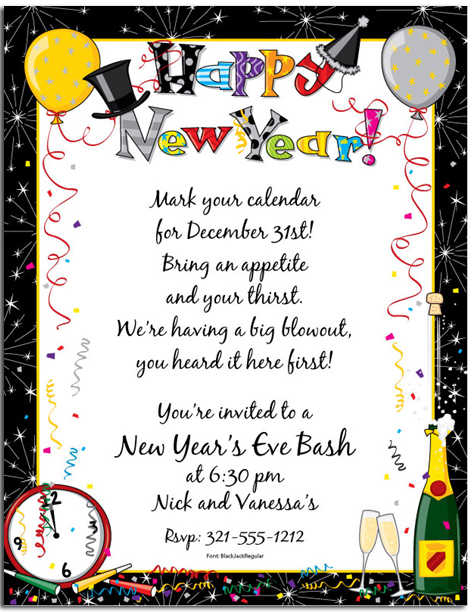 31st december new year invitation