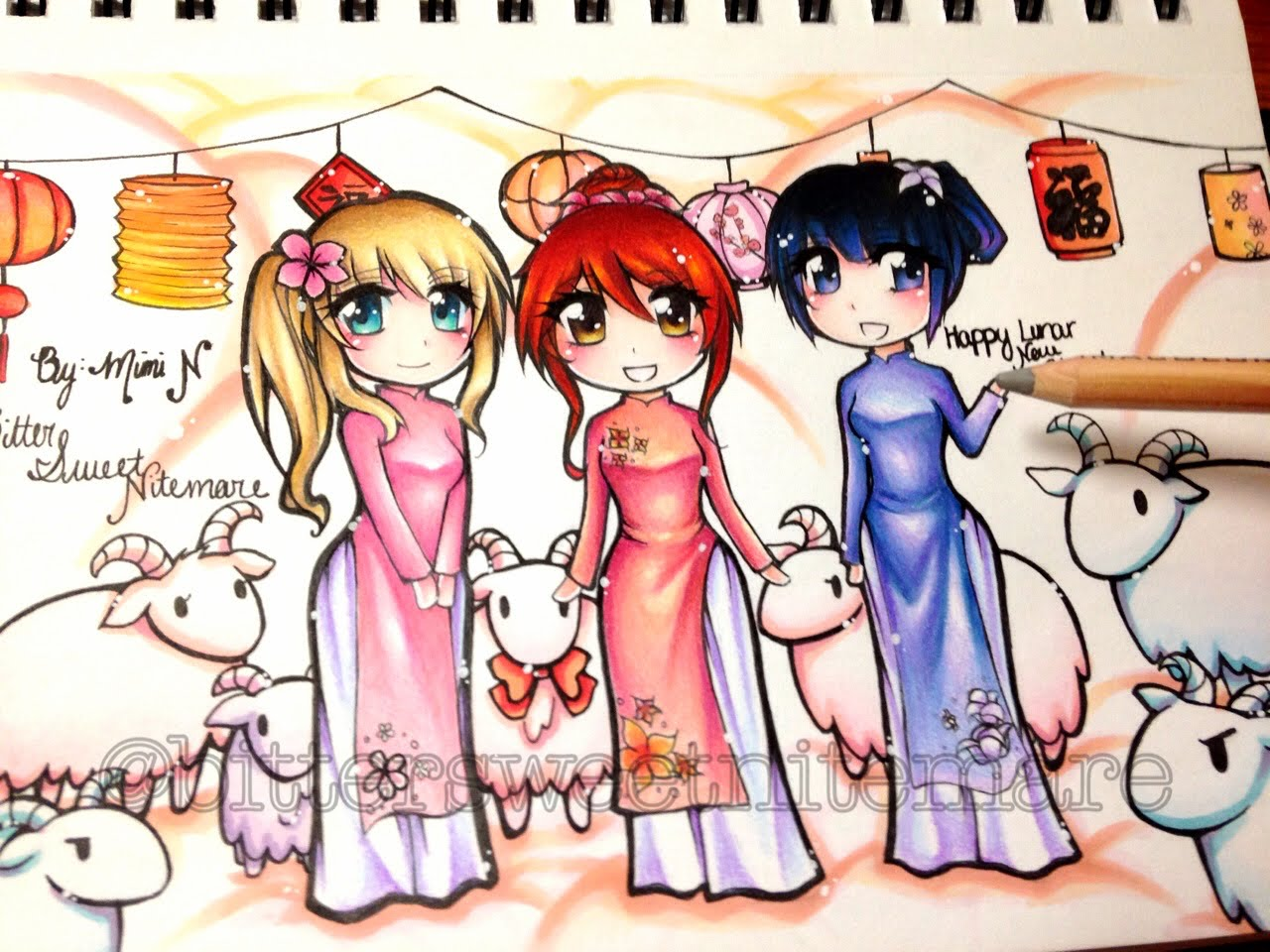 anime new year drawings