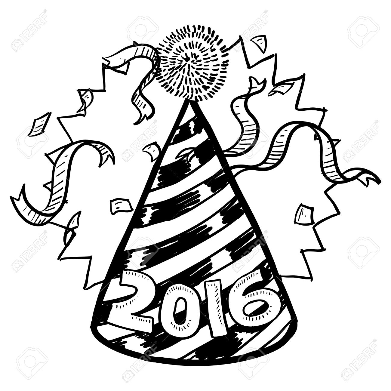 black and white new year drawings