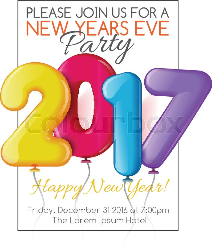 bright party new year invitation