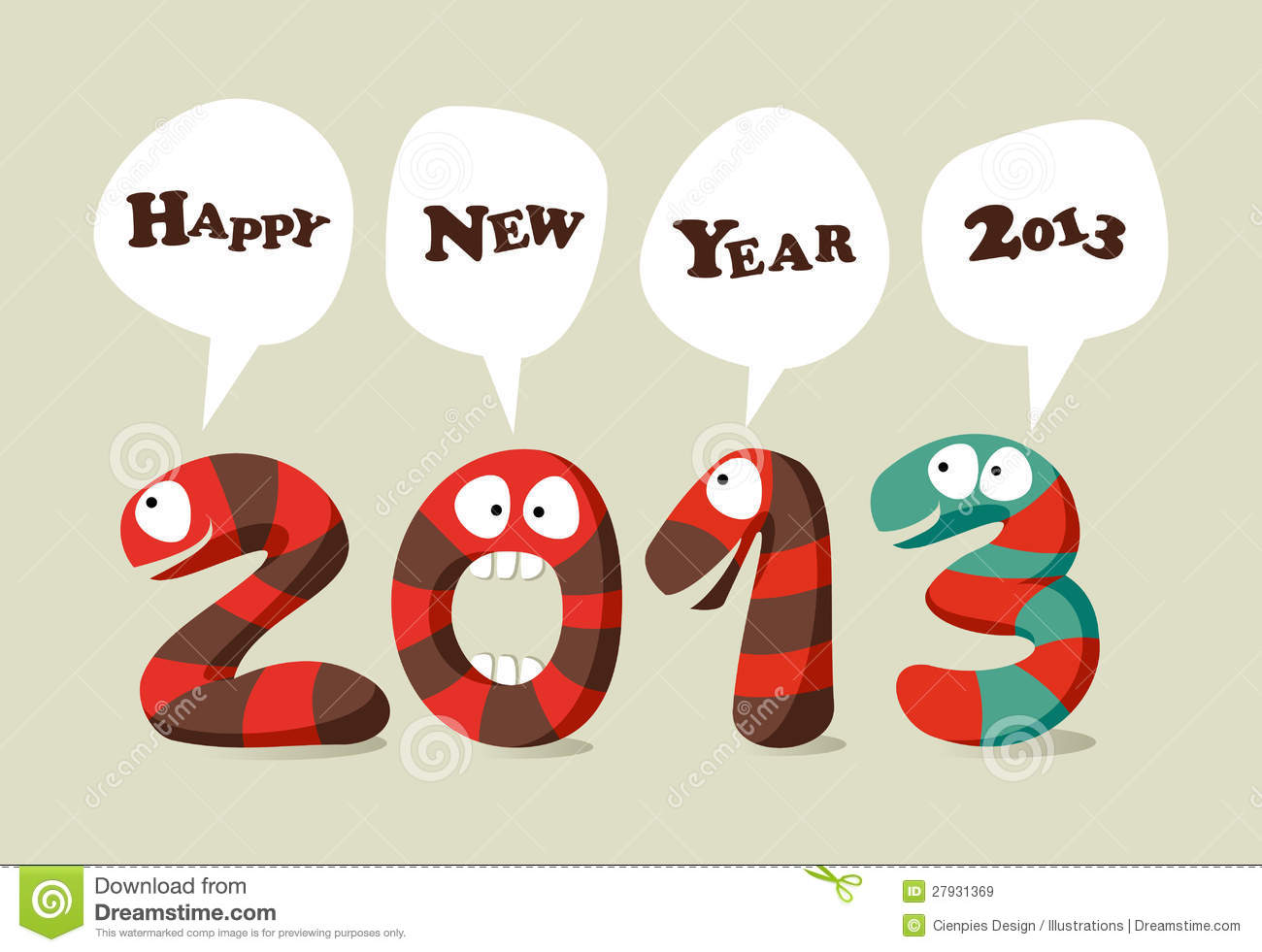 cartoon new year cards