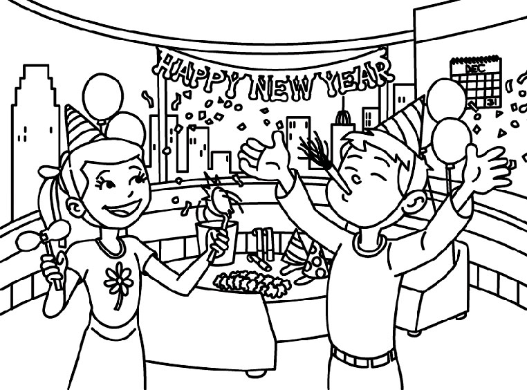 celebration new year drawings