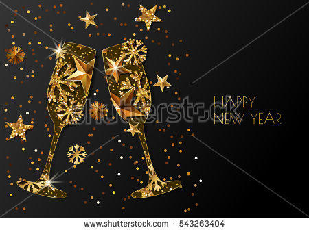 champagne glass new year invitation