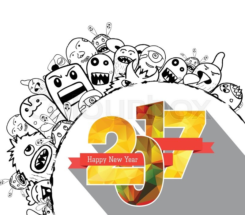 doodle new year drawings