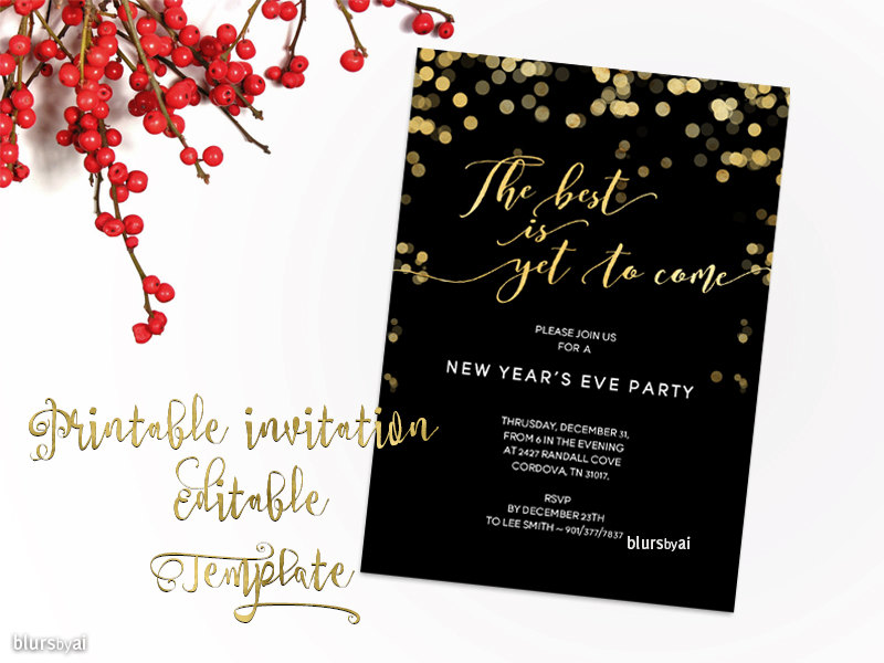 golden party new year invitation