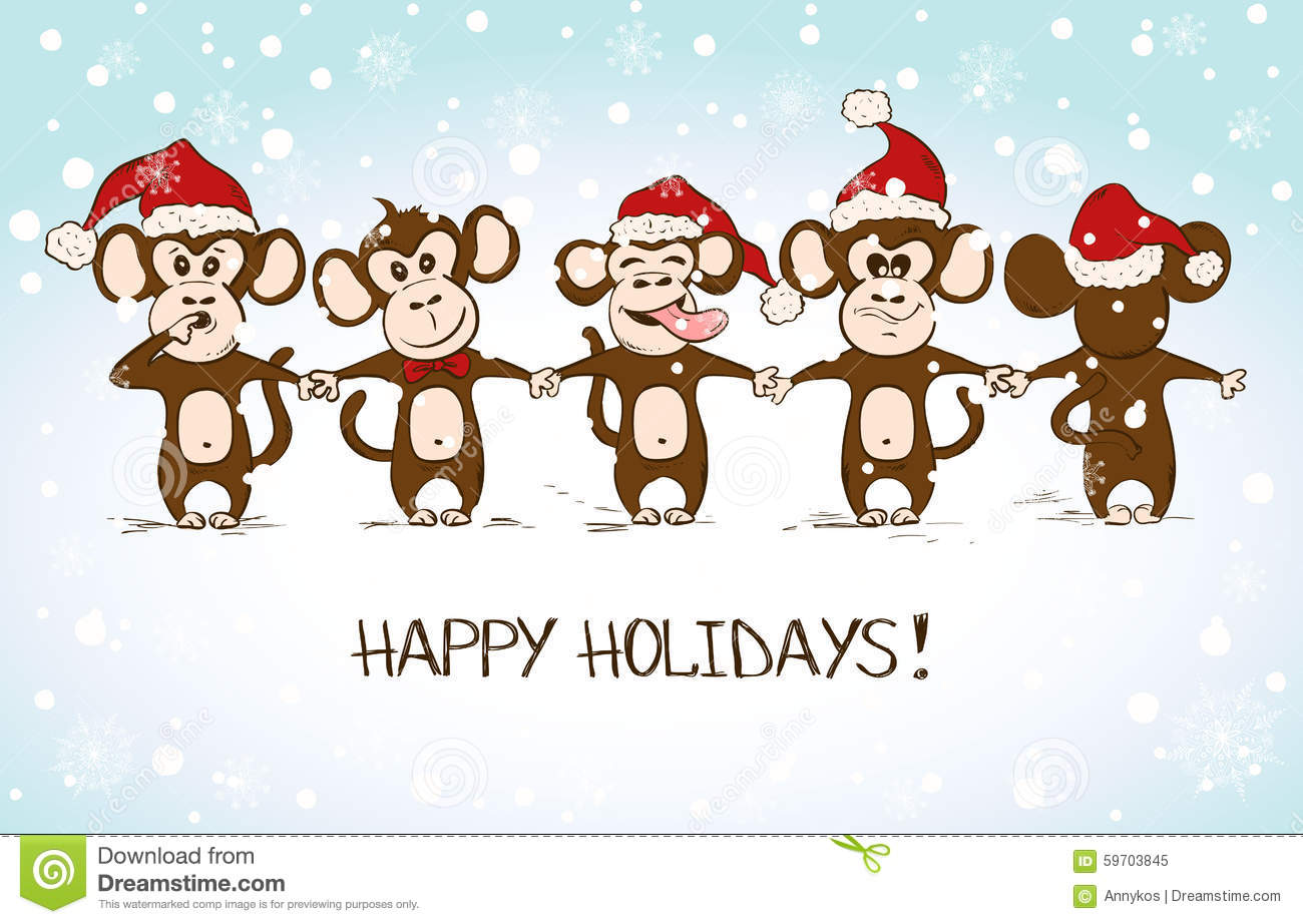 monkey new year cards