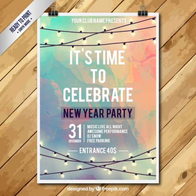 night party new year invitation
