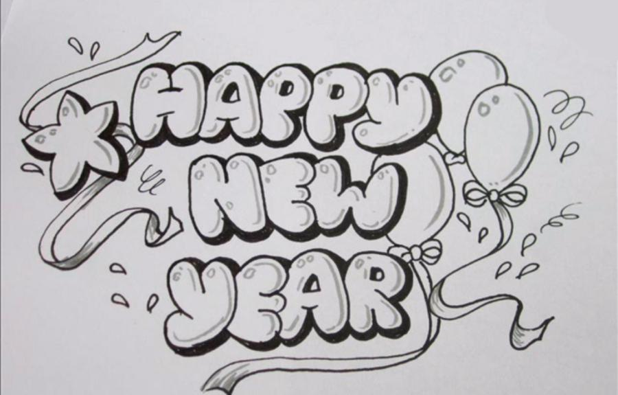 pencil new year drawings