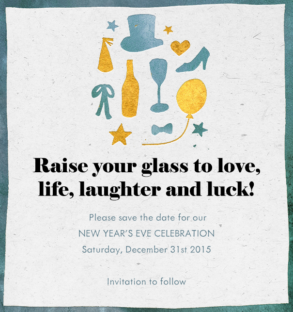 raise your glass new year invitation